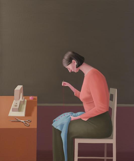Prudence Flint, pinturas, imagenes de soledad femenina bonitas, chidas de arte inspirador, mujer cociendo,