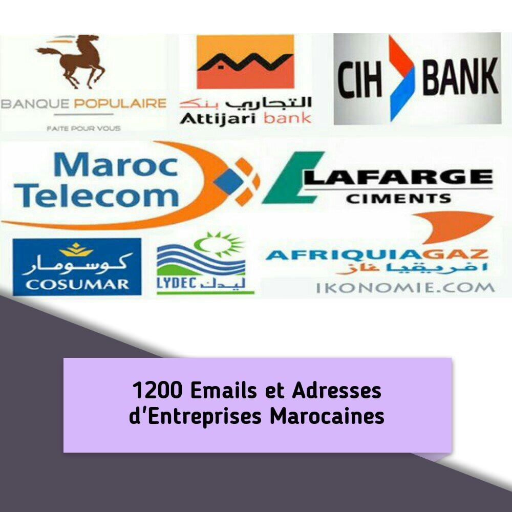 +1200 Emails et Adresses d'Entreprises au Maroc.