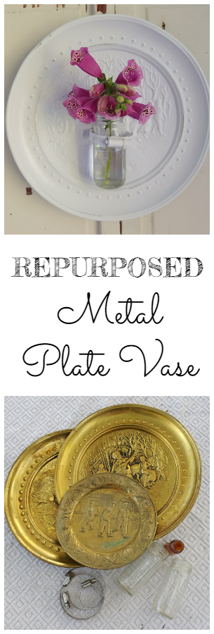 Make a cute wall vase with old decorative plates!