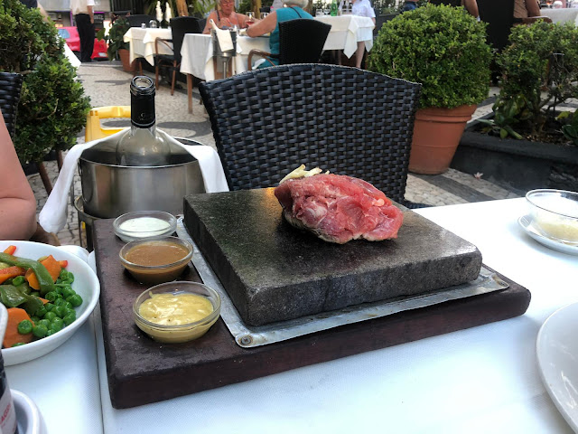 O Dragoeiro, Funchal, Madeira, Restaurant, Steak on a stone, Food,