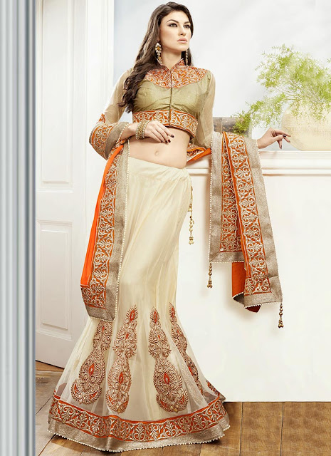 Charismatic Cream Net Lehenga Choli