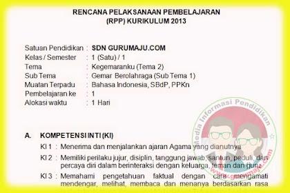 RPP Kelas 1 Tema 2 Semester 1 Kurikulum 2013 Revisi Tahun 2019