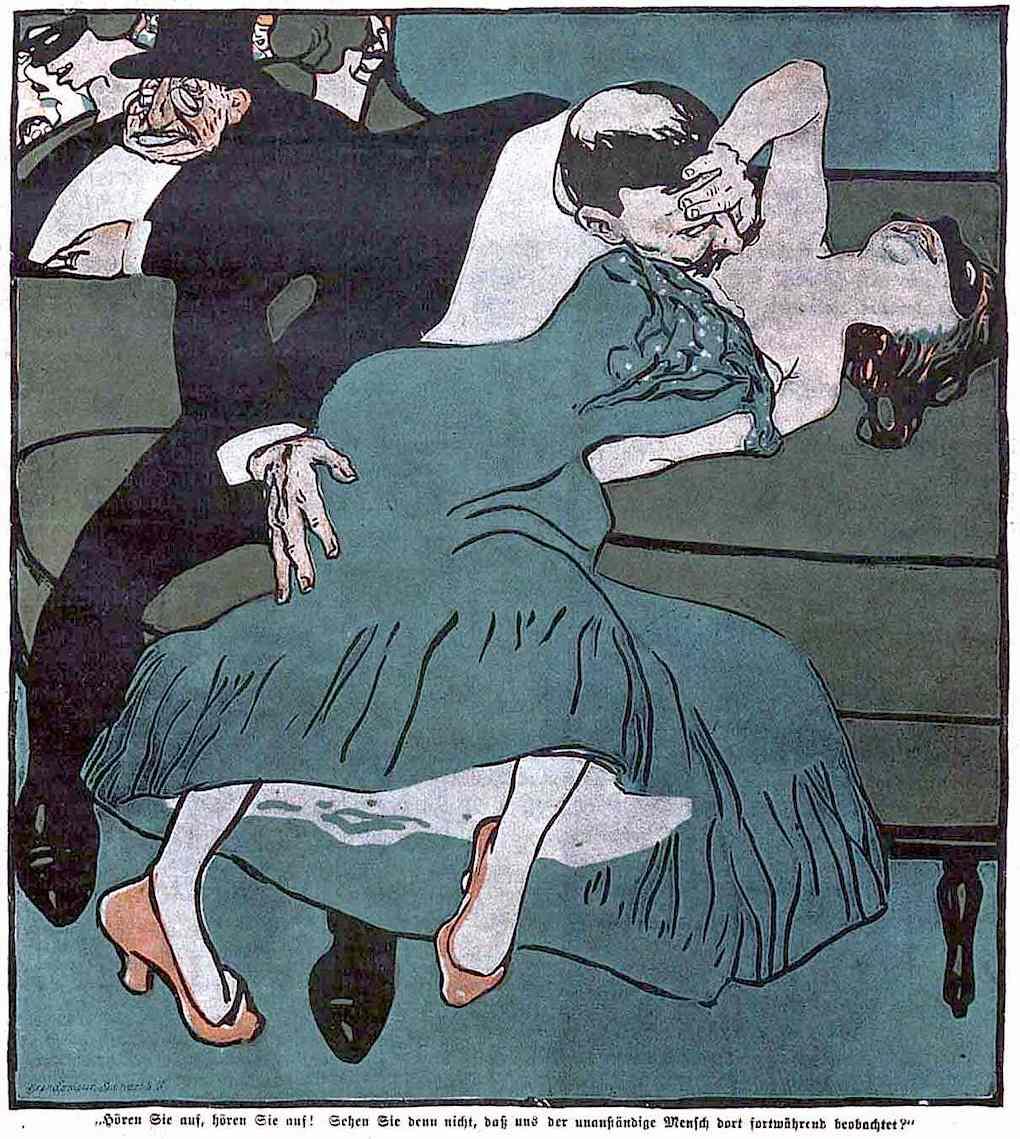 a Bruno Paul illustration, a wild drunken party