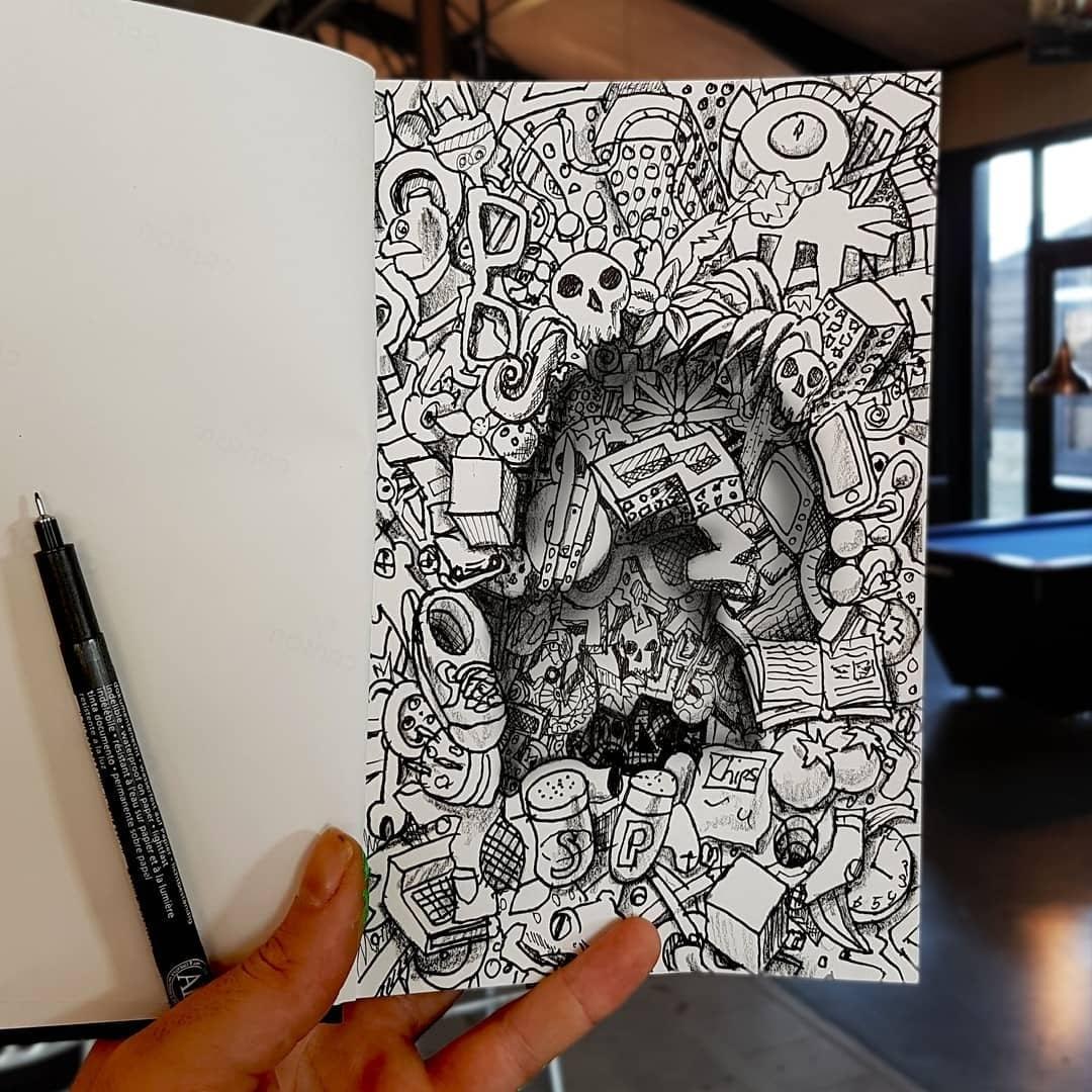 05-Doodles-in-Depth-Ramon-Bruin-Optical-Illusions-in-3D-Drawings-www-designstack-co