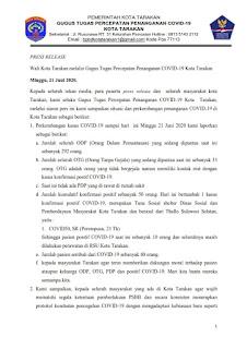 Press Release COVID-19 Tarakan 21 Juni 2020 - Tarakan Info