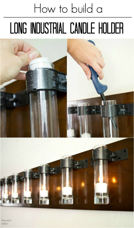 easy build glass metal wood long board cylinder candle holder sconce tutorial