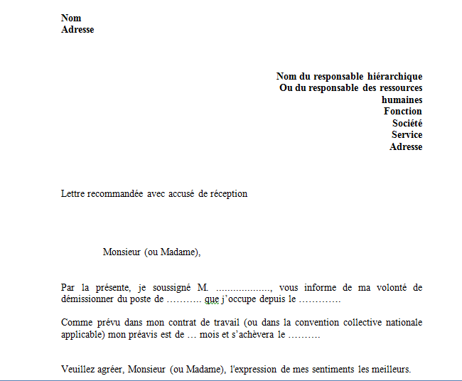 modele lettre de demission simple