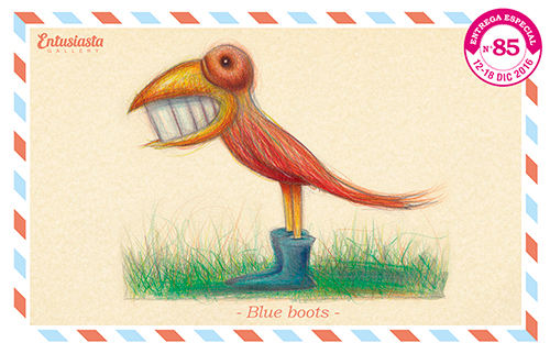 Drawing of a red smiling bird wearing blue boots.