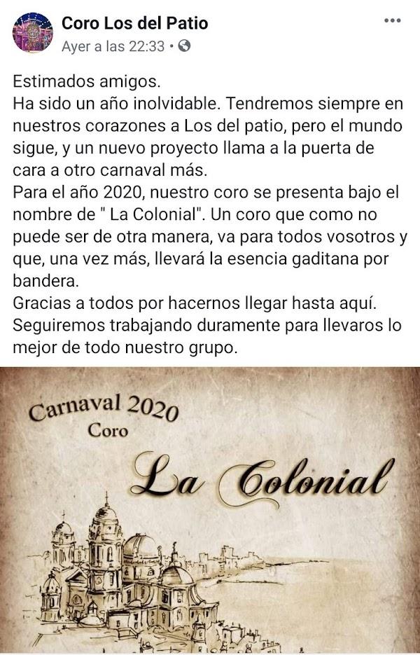 """El Coro """"Los del Patio"""" anuncia si nombre para el 2020"""