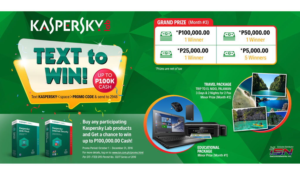 Kaspersky Lab and iSecure Networks announces Secure and Text to Win Promo