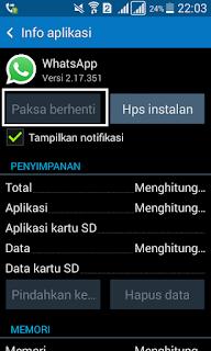 Nonaktifkan / paksa berhenti whatsapp
