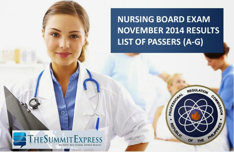 NLE Results November 2014 A-G List of Passers (Nursing board exam)