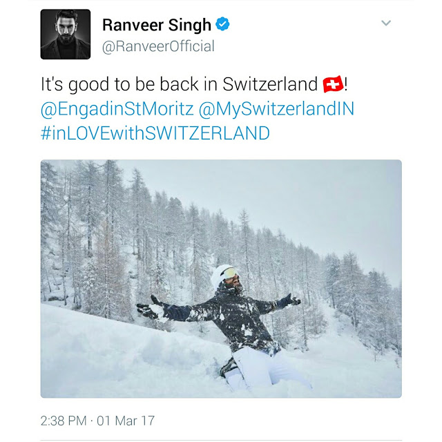 Ranveer Singh back in Switzerland