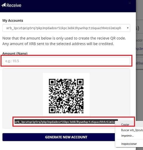 Cómo Enviar NANO Wallet Monedero