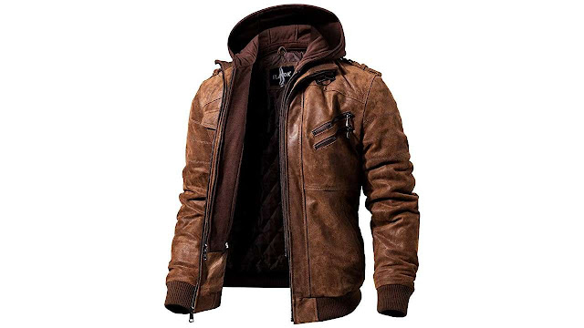 Brown Leather Jacket with Removable Hood