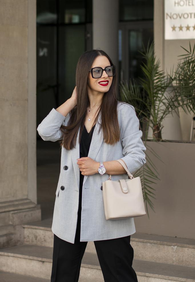 adina nanes how to wear the grey blazer