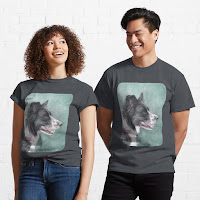 Two people wearing border collie T Shirts