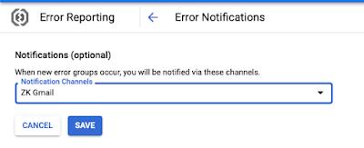 GCP error notifications