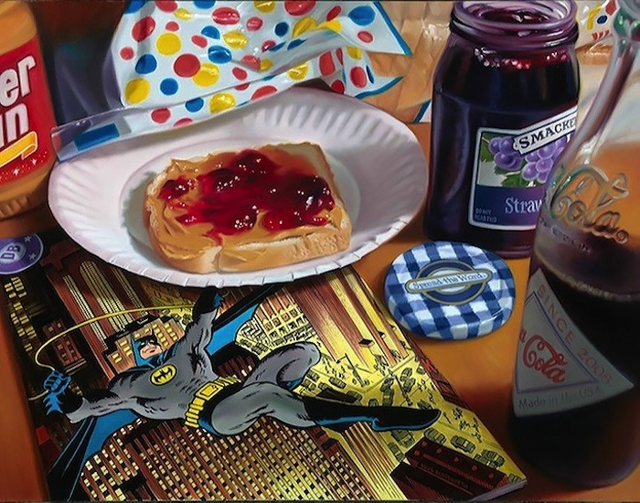 08-Batman-Peanut-Butter-and-Jelly-Doug-Bloodworth-Vintage-Comics-in-Hyper-Realistic-Painting-www-designstack-co