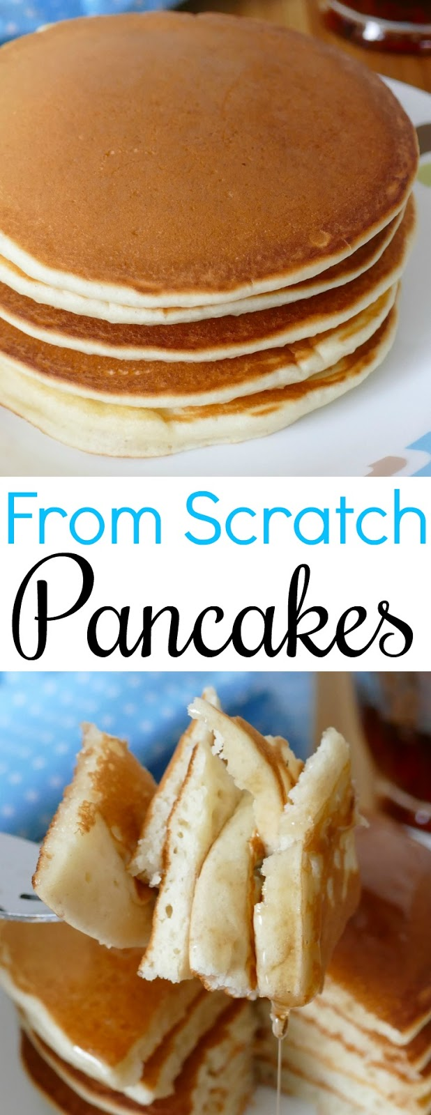 Skip store bought and make your pancakes at home from scratch! This breakfast recipe is SO easy, delicious and family approved! Try adding chocolate chips, bananas or blueberries and make it different every time!
