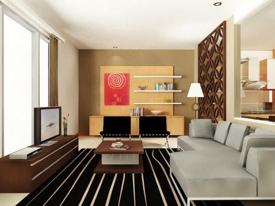 Contoh televisi dinding untuk ruang keluarga desain rumah minimalis type 36
