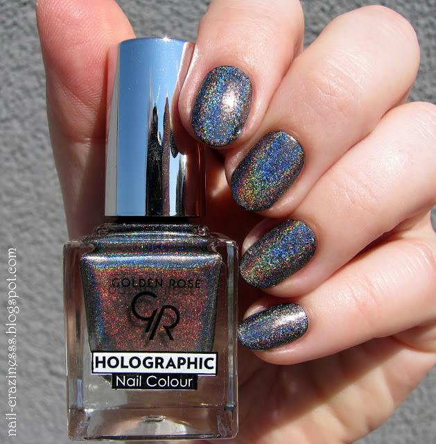 black holo, holographic nail polish