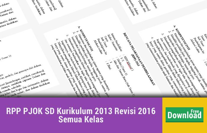 RPP PJOK SD Kurikulum 2013 Revisi 2016 Semua Kelas