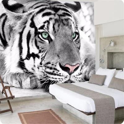 djur tapet tiger fototapet svartvit häftig tapet fondtapet