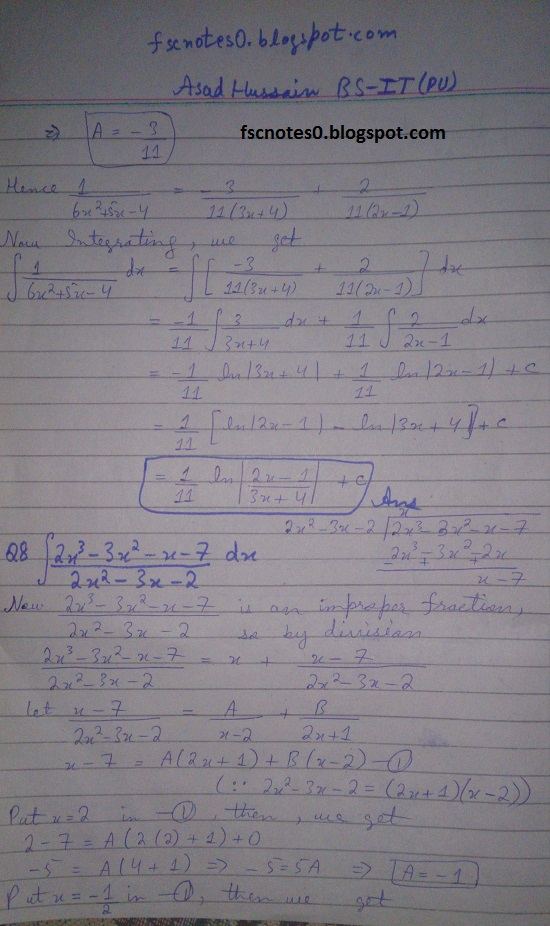 FSc ICS Notes Math Part 2 Chapter 3 Integration Exercise 3.5 question 1 - 11 by Asad Hussain 5