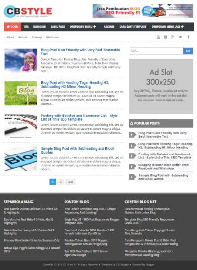 CB Style - Template Blog SEO Friendly Terbaru 2016