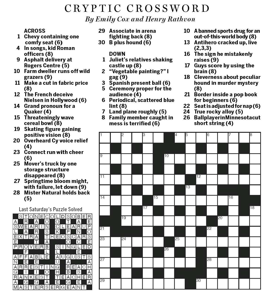 National Post Cryptic Crossword Forum Saturday August 6
