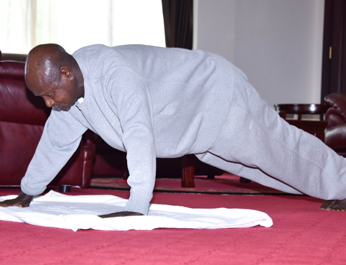Ugandan President shares video of himself exercising in his office to discourage people breaking the lockdown order to jog (video)
