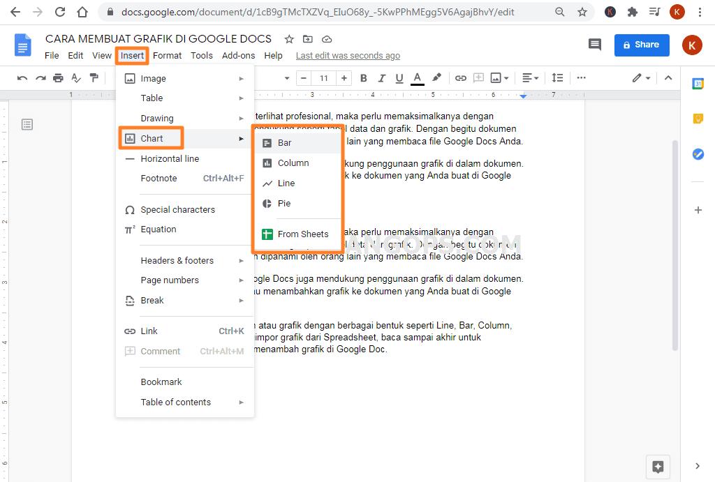 cara membuat grafik di google docs