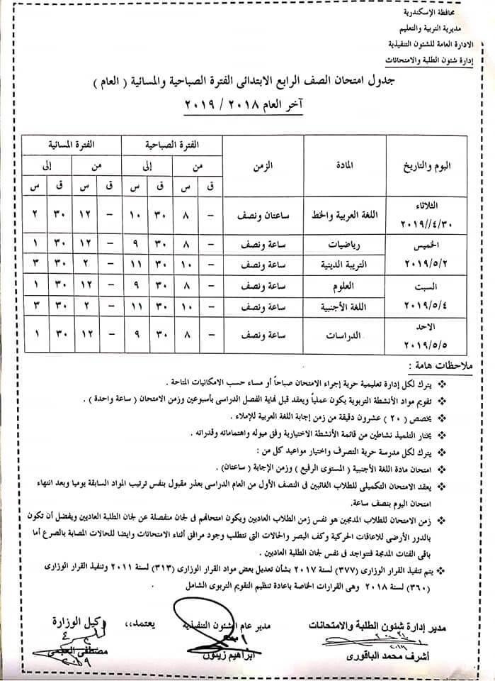 جدول امتحانات الصف الرابع الابتدائي 2019 آخر العام محافظة الاسكندرية