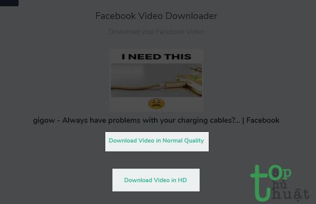 Chọn chất lượng video tải về