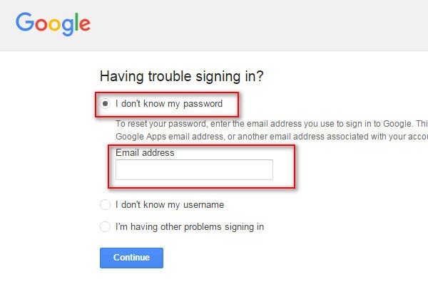 How can I recover the Google account without password or