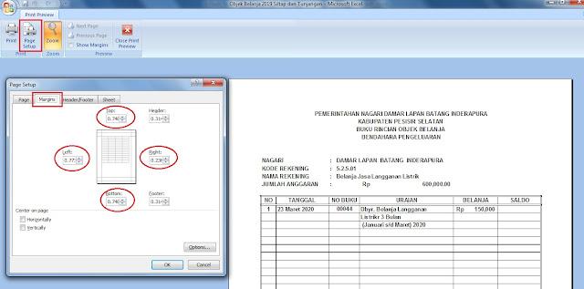 Cara print di Excel