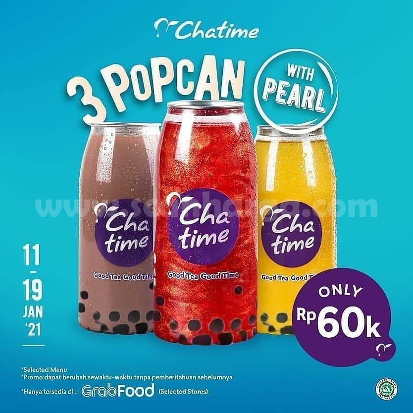 CHATIME Promo harga spesial 3 POPCAN with PEARL hanya 60K