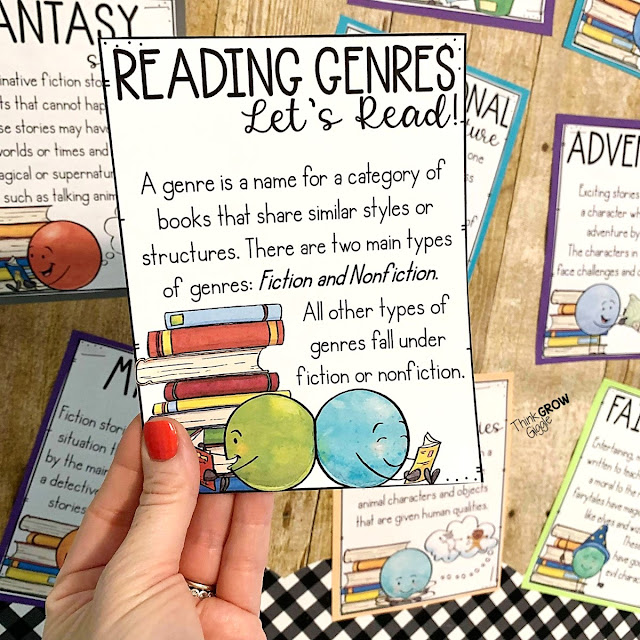 reading genre display and lessons
