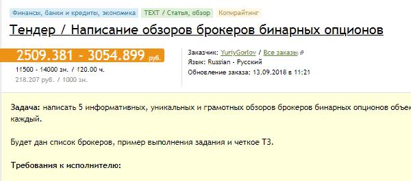 Пример заказа на написание текстовых обзоров