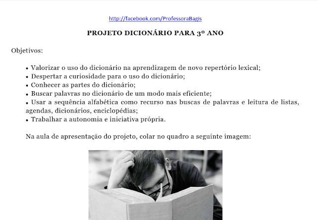 Projeto Dicionário adaptado para o 3º ano