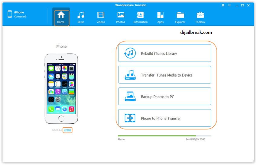 iPhone Terhubung TunesGo WonderShare