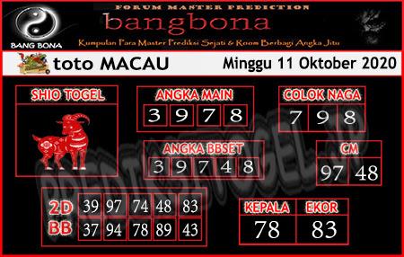 Prediksi Bangbona Toto Macau Minggu 11 Oktober 2020