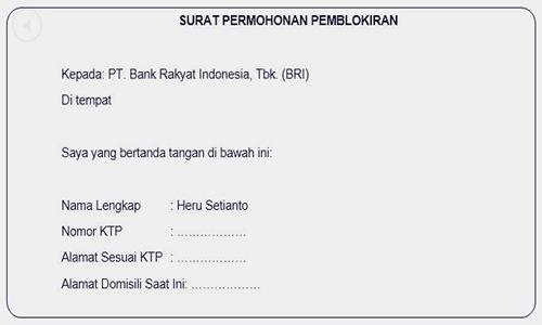 Foto Contoh Surat Permohonan Pemblokir Nomor Rekening Bank Penipu Terbaru - www.herusetianto.com