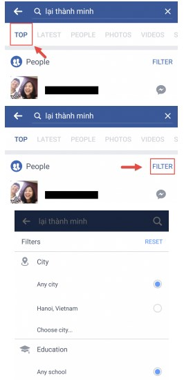 how to filter search on facebook app