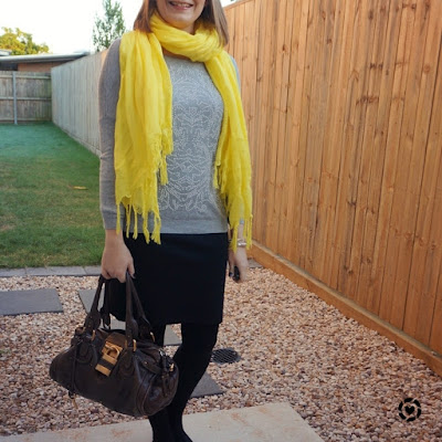 awayfromblue Instagram | winter office outfit bold yellow scarf grey embellished knit pencil skirt chloe paddington bag