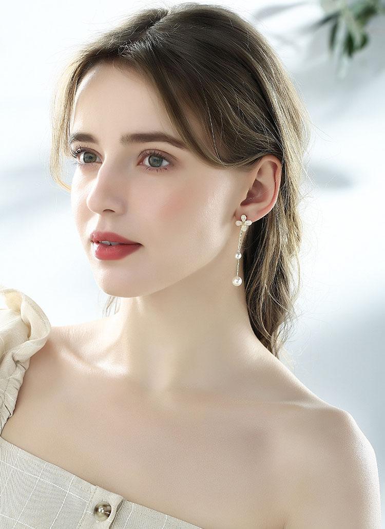 夏日香氣擬珍珠流蘇耳環