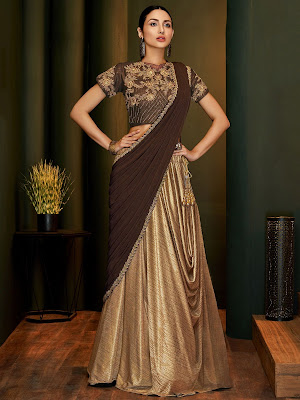Indian Party Wear Brown and Golden Lycra Pre Stitched Fancy Lehenga Saree