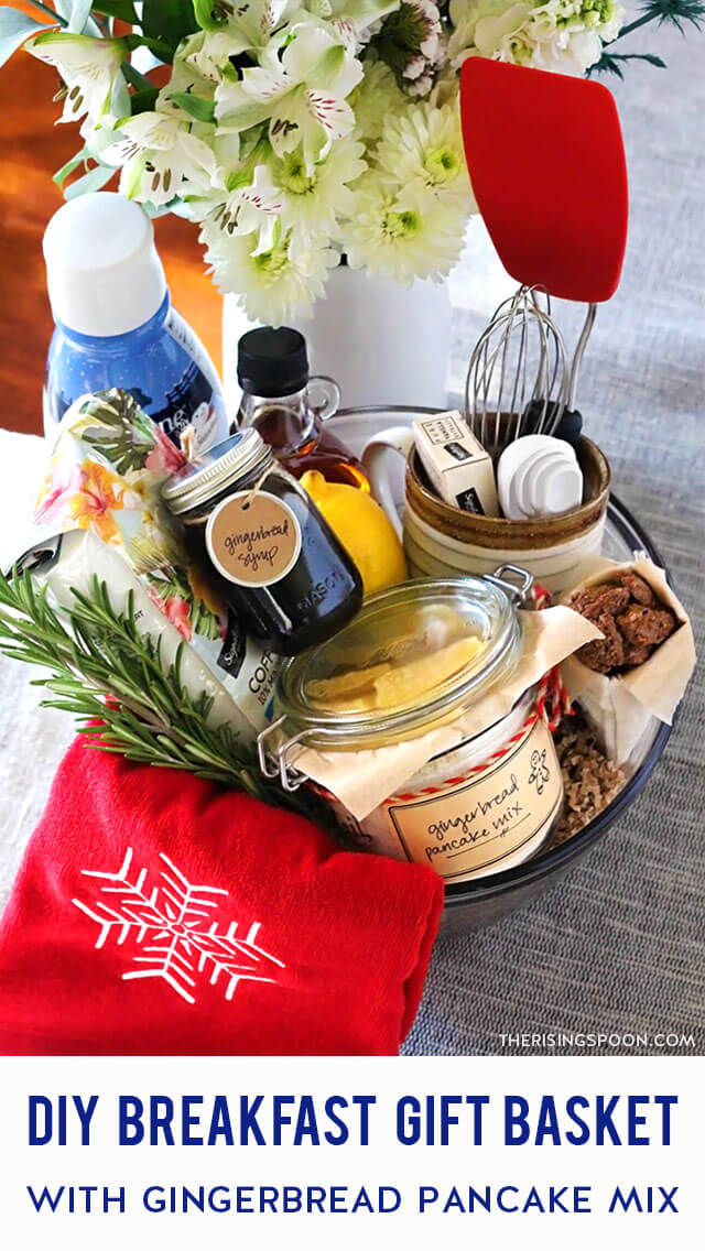 Need a simple gift for a foodie in your life? Make them a festive breakfast gift basket with homemade gingerbread pancake mix (easy recipe included), gingerbread syrup, ground coffee, creamer, maple syrup, and a few other goodies. This makes a thoughtful gift during the fall & winter months, and especially around Christmas when everyone's craving warm spices & cozy foods. Keep reading for tips, tricks & inspiration!