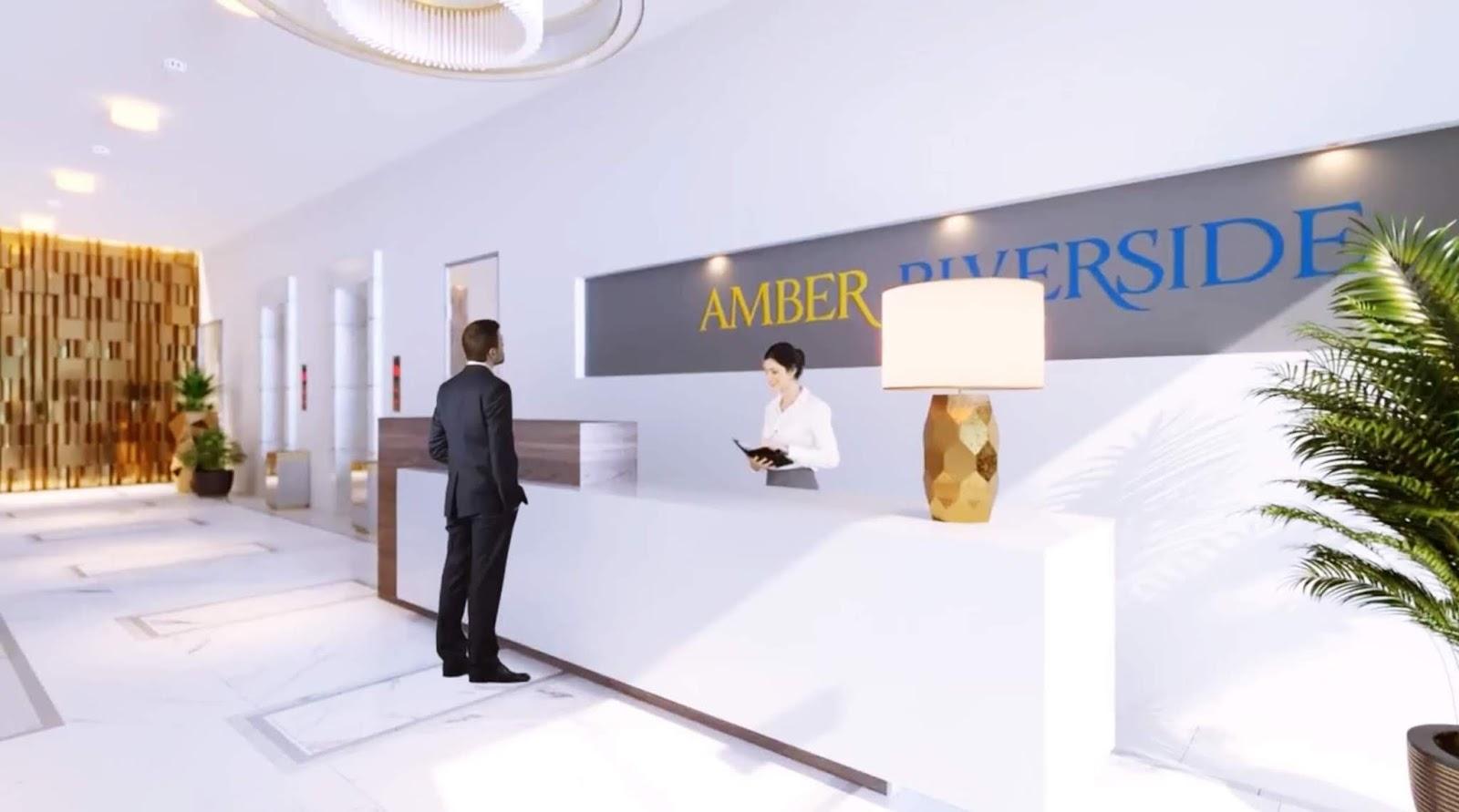 Sảnh đón tiếp cư dân sang trọng của Amber Riverside 622 Minh Khai